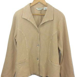 Orvis Waffle Knit Coat Jacket Womens Medium Beige